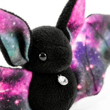 Galaxy Print Bat Stuffed Animal Plush Toy, One of Kind