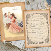 "50 Wedding Invitation Card - Allaire Vintage Photo Personalized 5""x7"""