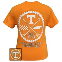 Tennessee Vols Volunteer Preppy Arrow Pearls Girlie Bright T Shirt