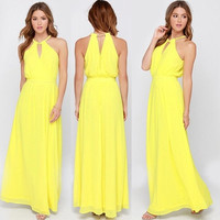 2015 Fashion Sexy Women Summer Boho Chiffon Long Maxi Evening Party Beach Dress