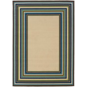 Caspian Ivory Blue Border  Outdoor Rug