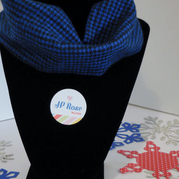 Scarf Bib Black and Royal Blue Houndstooth for Babies Size 4 months- 12 months