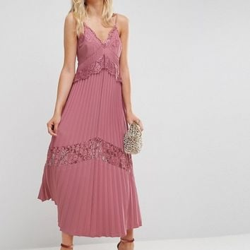 ASOS Pleated Maxi Dress with Lace Inserts at asos.com