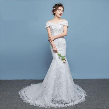 Mermaid Elegant Wedding Dress with Sweep Train Full Delicacy Flower Pattern with Appliques and Sequined