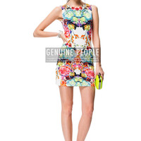Tropical Floral Bodycon Mini Dress // Super Sexy Slim // Sleeveless Flower Print Bright Summer Colors // Stretch-Knit // SALE