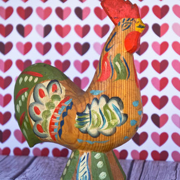 Vintage Dala Rooster Natural Wooden Swedish Folk Art Farm Sweden Wood Home Decor Grain Red Painted Carved Figurine Dalahemslojd Retro Rustic