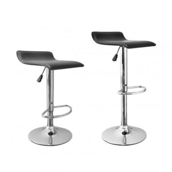 2 Pcs Black New Modern Adjustable Synthetic Leather Swivel Bar Stools Chairs B08