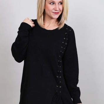Side Lace-up Sweater {Black}