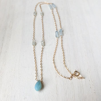 Natural Larimar Chandelier Briolette Pendant with Prehnite and Aquamarine Rondelles, Station Necklace, Gemstone Necklace, Handmade Gift