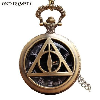 Harry Potter Deathly Hallows Pocket Watch Necklace Vintage Steampunk Men Pocket Watches Pendant Quartz Fob Watch Chain Clock