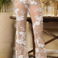 Second Chances White Beige Lace Sequin Floral Pattern Sheer Mesh High Waist Flare Leg Loose Pants