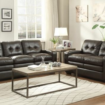 2 pc Urich collection chocolate top grain leather match upholstered sofa and love seat set