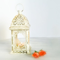 Unique Vintage Scheherazade Exotic Lantern/ Morrocan Decor/ Filigree Golden Metal Candle Holder/ Wedding Decor/ Weekend PROMO