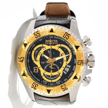 Invicta 11016 Men's Reserve Excursion Gold Tone Bezel Black Textured Dial Leather Strap Chronograph Dive Watch