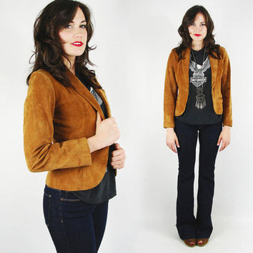 vtg 70s boho hippie southwest wilsons CARAMEL brown SUEDE leather SKINNY fit cropped crop boyfriend blazer jacket xs
