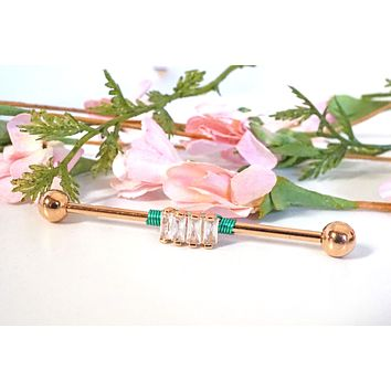 4 Square CZ 16g or 14 Gauge Rose Gold Industrial Barbell