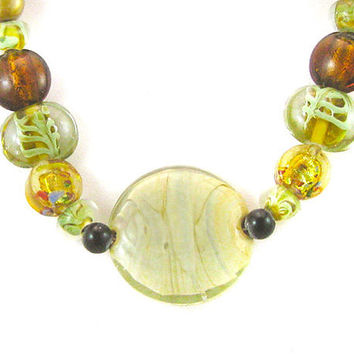 Amber and light green glass beaded necklace - OOAK upcycled, recycled, shabby chic, Bohemian