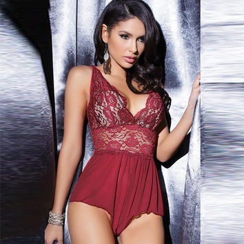 On Sale Cute Hot Deal Plus Size Lace Set Spaghetti Strap Dress Sexy One-piece Summer Exotic Lingerie [6596539011]