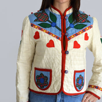 70s Vintage Ellen Miklas French Quilted Off-White Jacket/ Colorful Flowers Embroidery Tyrolean Ribbon