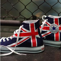 UK Flag Union Jack Converse Sneakers Hand by EmilyTamHandPainting