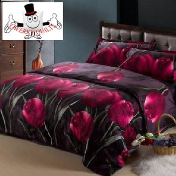 3D Bed Set Violet Red Tulip Bedding Set and Quilt Cover