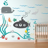 Submarine and friends wall decal, wall sticker, decal, wall graphic , vinyl decal for the bedroom or play room, sticker, vinyl graphic
