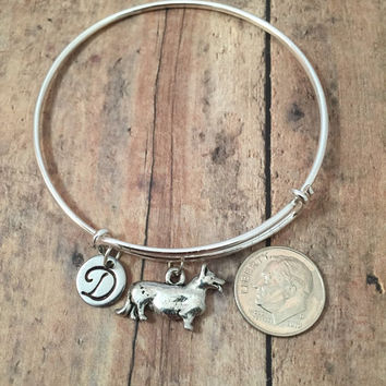 Corgi charm bracelet - Corgi jewelry, dog breed bracelet, Corgi dog bangle, Welsh corgi jewelry, dog breed jewelry, silver Corgi bracelet
