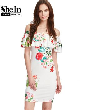 SheIn Ladies Summer Sexy Sheath Dresses Womens Multicolor Floral Ruffle Off The Shoulder Half Sleeve Pencil Dress