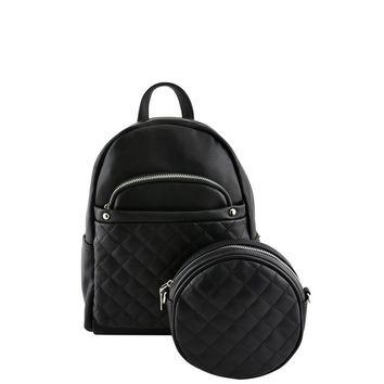 Black 2-in-1 Quilted Backpack