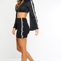 Luciana Track Mini Skirt - Black