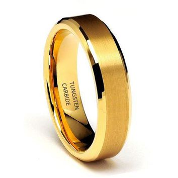 6mm Yellow Gold Beveled Edge Tungsten Carbide Wedding Band (14k, 18k, 24k Yellow Gold)