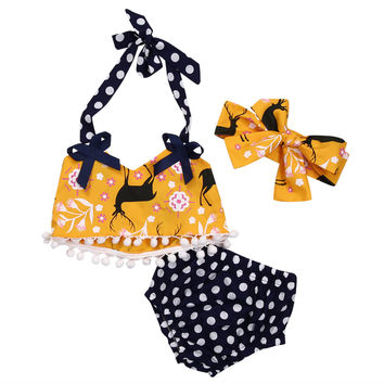 Unisex Summer baby clothing set halter tank top+ dot shorts 2pcs