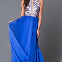 Long Sleeveless Beaded Sheer Illusion Prom Dress by Dave and Johnny