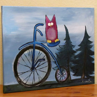 Kids Wall Art Original Whimsical Owl Painting by by andralynn