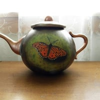 HandCarved Painted Butterfly Gourd Faux by RockySpringsVintage