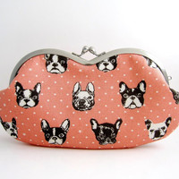 Sunglasses case / Eyeglass Case -french bulldog in pink