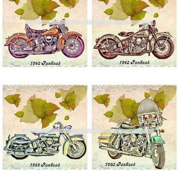 Harley Panhead Motorcycles Altered Art - Coasters Artwork, 4.0 inch Squares, Arts and Craft Projects