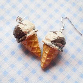 Ice Cream Cone Earrings, Ice Cream Earrings, Vanilla, Chocolate, Ice Cream, Food Earrings, Dessert Earrings, Miniature Food, Polymer Clay