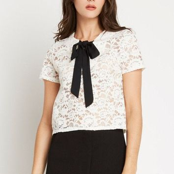 Sweet Spot Bow Tie Lace Top