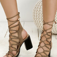 Everyday Epic Khaki Suede Lace-Up Heels