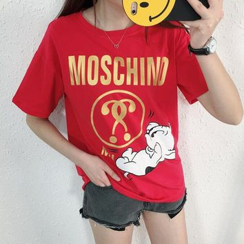 Moschino Summer New Style Dog Letter Print Short Sleeve Loose T-Shirt Top