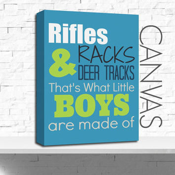 Rifles, Racks & Deer Tracks, Canvas Art, Nursery Canvas, Boy's Room Decor, Gallery Wrapped, Ready to Hang, Hunting, Choose the Colors, Size