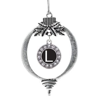 My Initials - Letter L Circle Charm Holiday Ornament