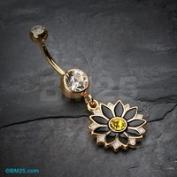 Golden Daisy Blossom Flower Belly Button Ring