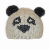 Hand knit panda hat beanie in milky white and grey