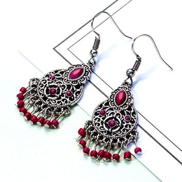 Antique Silver and Deep Red Boho Chandelier Earrings