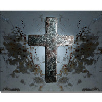Rustic Cross Print, industrial art, gray cross, cross wall art, grunge art, goth art, religious art, decorative cross, cross photography