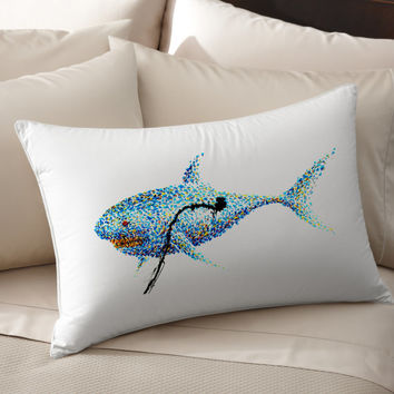 4K Unique Shark Art pillow cover 100% cotton handmade silk Decorative pillow case pillowcase cushion cover Bedroom Present gift