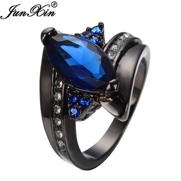 JUNXIN Blue Black Gold Filled CZ With White Crystal Jewelry Rings For Women and Men Friendship Wedding Party Gift