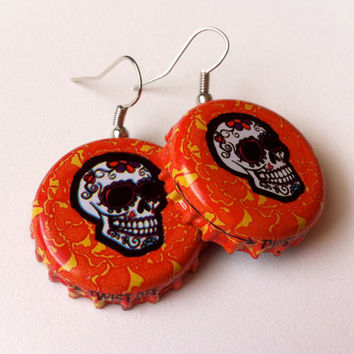 Day of the Dead Mexican Craft Beer Bottle Cap Skull Earrings Jewelry